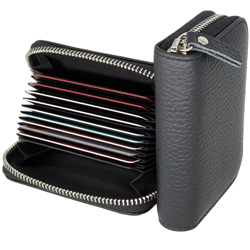 Tarjetero para tarjetas de crédito Mujer Cuero Genuino RFID Titular de la Tarjeta de Crédito Carteras de Cuero 10 Ranuras para tarjetas de crédito+ 2 Ranuras para billetes y monedas