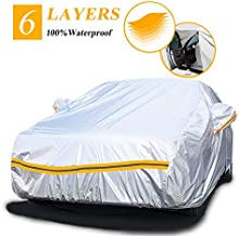 Autsop Car Cover Waterproof All Weather,6 Layers Car Cover for Automobiles Outdoor Full Cover Sun Hail UV Snow Dust Protection with Zipper, Universal A3-3XXL(Fits Sedan 194