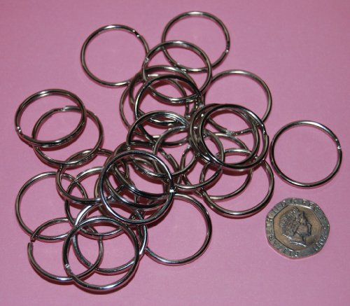 celloexpress Pack of 50-25mm Round Silver Colour - Double Loop Split Ring for Keyrings and Craft Making