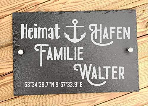 Hausschild personalisiert aus Schiefer 30 x 20 cm | Türschilder für Familie mit Namen und Koordinaten | Hausschilder Familienhafen | Familien Turschild zum Einzug