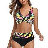 Traje de baño Conjunto Bikinis Talla Grande Mujer el VeranoSeparar 2 Piezas con Estampado Cuello Halter Playa Push Up Triángulo Honda Cómodo Baño Sol Varias Opciones tamaño