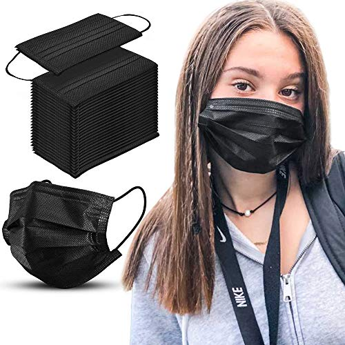 Black Disposable Face Mask Breathable Dust Filter Masks Mouth Cover Masks with Elastic Ear Loop for Men & Women (50pcs)