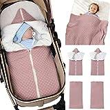 Baby Wrap Wickeldecke Strick Schlafsack Schlafsack Kinderwagen Wrap Weich Warm für 0-12 Monate Babys Unisex (Rosa)