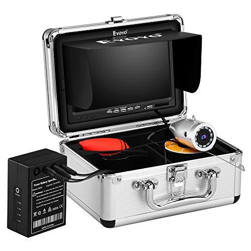 Eyoyo Cámara subacuática de pesca de hielo, cámara de vídeo con cámara mejorada 720P con 12 luces de infrarrojos, 1024 x 600 IPS 7 pulgadas para la pesca de huevo, mar, barco y marítima (30m + DVR)