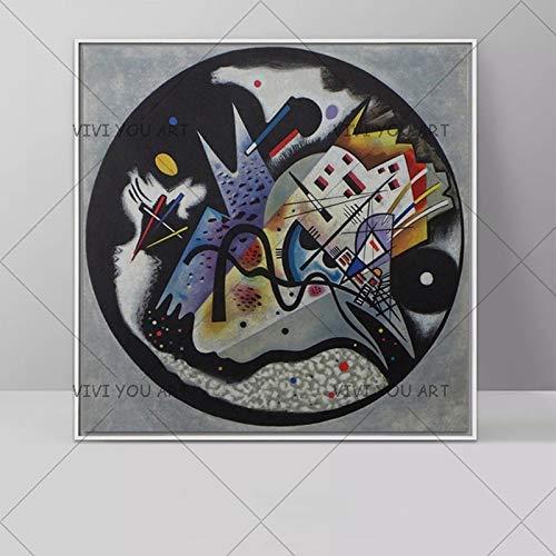 PVZADEW Cuadro en acrílico 100% Pintado a Mano Wassily Kandinsky Pintura al óleo geometría Hecha a Mano Imagen Pared Cuadros Arte para Sala de Estar decoración del hogar sin Marco 120x120 cm