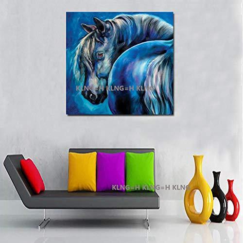 mmzki Ölgemälde gemalt Schönes blaues Pferd auf Leinwand Moderne abstrakte Bilder Tierölgemälde für Wohnkultur Wandkunst-60x60CM_KH3