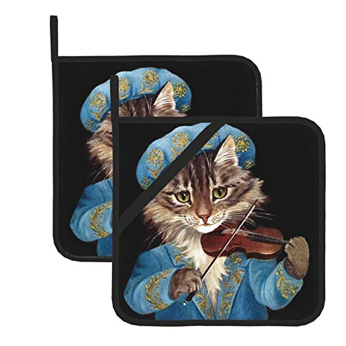 Cats Maine Coon Renaissance Violin 100% Cotton Set of 2 Pot Holders with Loop Heat Resistant for BBQ | Cooking | Baking | Grilling | Microwave | Barbecue | Four Season (8 Inch X 8 Inch)