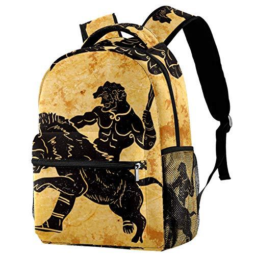 LORVIES Vintage Old Ancient Hercules Hunting Lion - Mochila casual con bandolera para estudiantes de la escuela