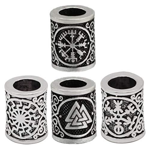 FRCOLOR 15 cuentas de runas vikingas noruegas trenzadas para barba, plata envejecida, bronce, para pulseras y collares (estilo aleatorio)