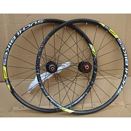 TYXTYX Juego de Ruedas de Bicicleta MTB de 26 Pulgadas, Borde de Doble Pared, rodamiento Sellado, Freno de Disco QR para 8-10 velocidades, Ruedas de Bicicleta con Volante de inercia 24H