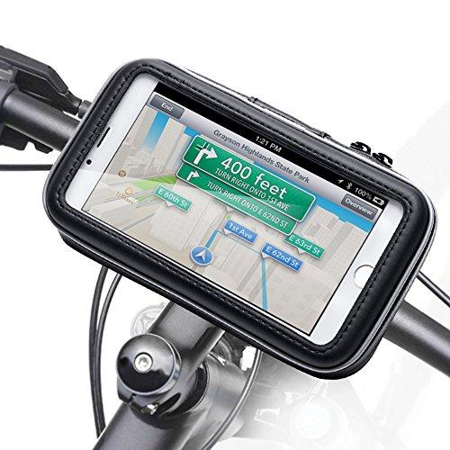 iKross - Soporte con montura y funda de bicicleta protectiva e impermeable para dispositivo con pantalla 3,5-5,5 pulgadas, color Negro