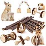 JanYoo Bunny ChewToys for Rabbits Teeth Hamster Natural Wood Chewing Grinding Set Toys for Syrian Real Dwarf Hamsters in Cage