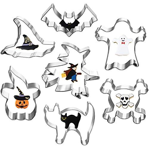7pcs Halloween Moldes de Galletas Moldes Galletas Acero Inoxidable para Pastel, Cookie, Fondant, Formas Halloween Variadas...