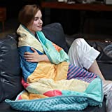 ZonLi Plush Weighted Blanket 15 lbs(60''x80'', Polygon/Green), Queen Size Weighted Blanket for Adults, Soft Fleece Heavy Blanket with Glass Beads