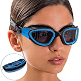 Swim Goggles + Case by AqtivAqua ~ Wide View Swimming Goggles for Adult