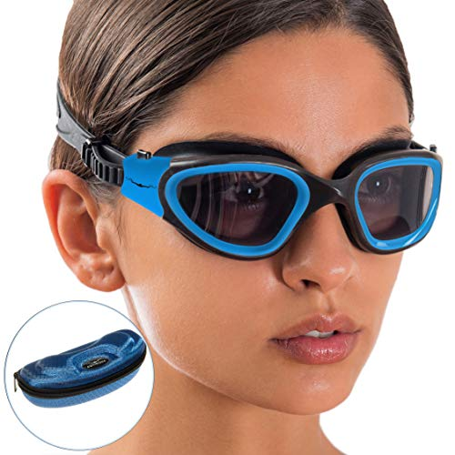 AqtivAqua Wide View Swim Goggles // Swimming Workouts - Open Water // Indoor - Outdoor Line (Polarised-Lenses Blue/Black-Frame)