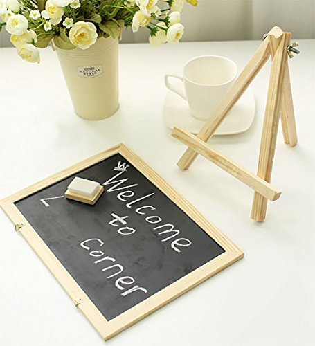 Chalkboard Sign, Double Sided Use Chalkboard and White Board with Chalk Eraser, 3 Chalk Sticks, One Chalk Marker and 2 Magnets, Mini Message Board with Sturdy Tripod by Fezep