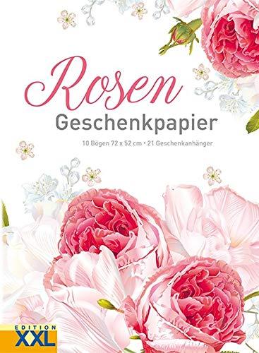 Rosen - Geschenkpapier: 10 Bögen, 72 x 52 cm, 21 Geschenkanhänger im Set