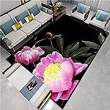 Flor Morada 3D Alfombra Pelo Corto Habitación Infantil, Las alfombras Modernas Suaves para Interiores Son Antideslizantes, 140X200cm (55X79inch)