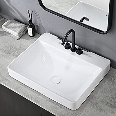 "VESLA HOME Modern Square White Porcelain 24""x19"" Ceramic Bathroom Vessel Sink, Ceramic Basin With 3 Hole 4 Inch Wash Basin for Lavatory Vanity Cabinet"