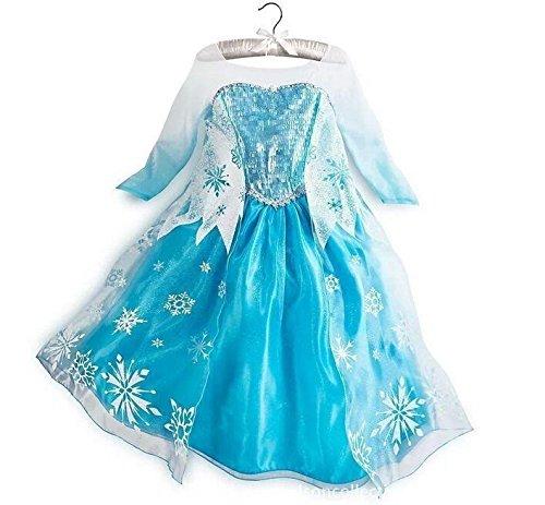 Black Sugar (T130) Magnifique Robe Enfant Flocon De Neige Traîne Elsa La Reine des Neiges - Qualité Exceptionnelle - 3 à 12 Ans (T130 - 5/6 Ans - 125/135cm)