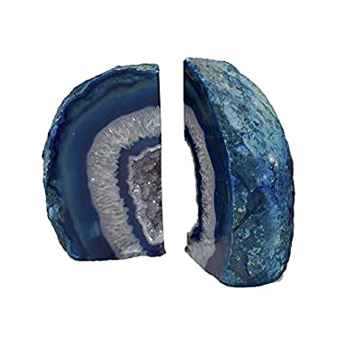 Dyed Blue Agate Bookends Cutting Natural Agate Stone Pair Home Decoration 6-8 lbs