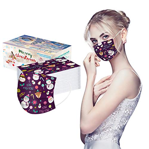 LUCKME 50 Stück Erwachsene Mundschutz Multifunktionstuch Weihnachten Druck Bandana Mundbedeckung Einweg 3-lagig Staubdicht Atmungsaktiv Mund-Nasen Bedeckung Halstuch Schals