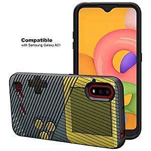 TurtleArmor   Compatible with Samsung Galaxy A01 (2020)   A015   Slim Hybrid Engraved Grooves Hard Shell TPU Dual Layer Case - Gray Gameboy
