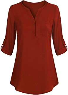 ZOMUSAR Womens Long Sleeve Roll-Up Top V Neck Button Layered Shirt Casual Blouses