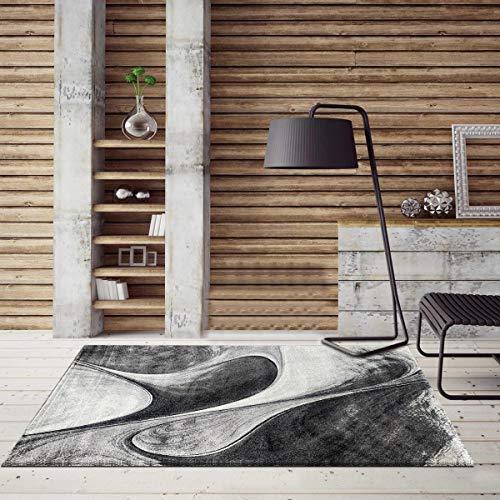 Un Amour de Tapis – Alfombra para interior – Alfombra de salón moderna, diseño de pelo a ras rectangular – Alfombra para interior rojo, gris y negro 40 x 60 cm