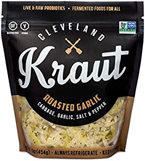 Cleveland Kraut Roasted Garlic - Cabbage, Garlic, Salt, and Pepper, Live and Raw Probiotics, 16 Ounce (Pack of 6)