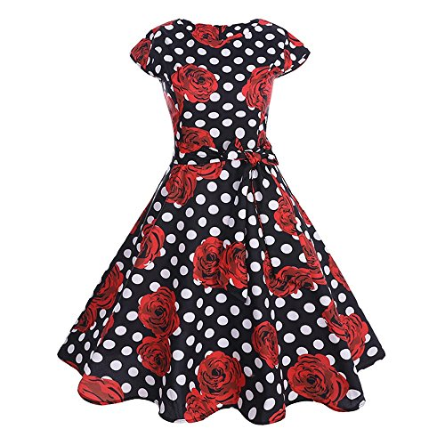 TEBAISE Damen Vintage 1950er Cap Sleeves Retro Dot Einfarbig Rockabilly Swing Kleider Frühling...
