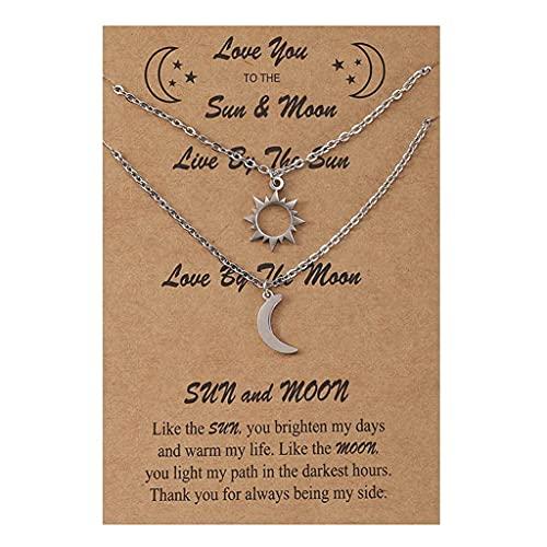 Branets Collar de sol y luna en capas de plata entrelazados collar de media luna set de tarjetas regalos para mujeres y niñas (2 piezas)