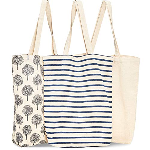 Juvale 3Pack Reusable Cotton Grocery Shopping Tote Bags 3 Designs 15 x 165 x 35 Inches