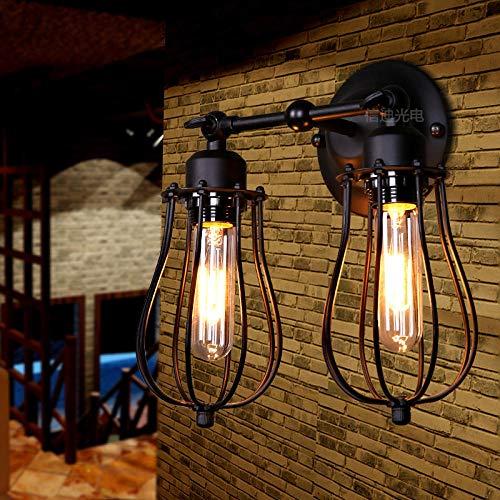 Loft American country industrial wind forja retro lámpara de pared/Doble cabeza (sin fuente de luz)_40W