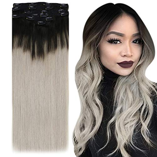 YoungSee 7pcs/120g Extension a Clip Bresilien Naturel Ombre Noir Naturel a Gris Balayage Clips Cheveux Naturels Ombre Remy Hair 20Pouces