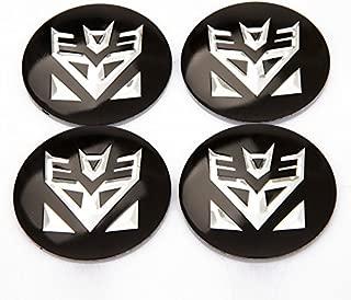 4 Pcs Aluminum Alloy Transformers Decepticons Wheel Center Decal Emblems (Transformers Decepticons-Black)
