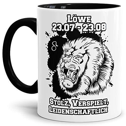 Tassendruck Sternzeichen-Tasse Löwe - Innen & Henkel Schwarz - Geburtstag/Astronomie/Sternen-Bilder/mit Spruch/Witzig/Kaffeetasse/Mug/Cup - Qualität Made in Germany