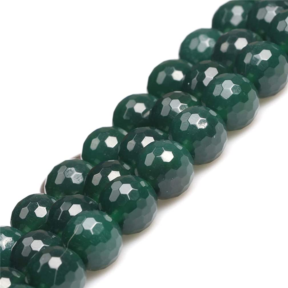 JOE FOREMAN 12mm Green Agate Semi Precious Gemstone Round Faceted Loose Beads for Jewelry Making DIY Handmade Craft Supplies 15