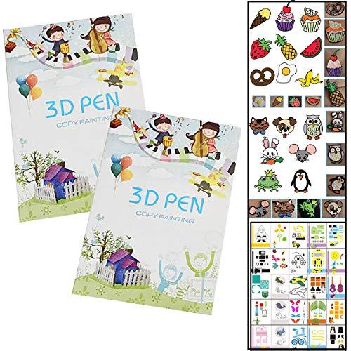 Fiyuer Modelli per Penna 3D 40 PCS 3D Pen Printing Paper Graffiti Template Accessori per Bambini Fai da Te