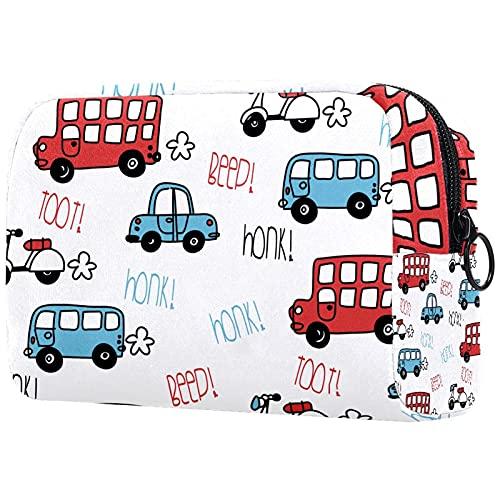 Bolsa de maquillaje de viaje grande bolsa de cosméticos titular de cepillo de maquillaje bolsas de aseo para mujer pitido autobús y patrón de coche