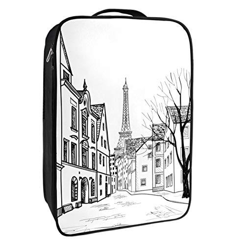 Schuh-Aufbewahrungsbox, Reise- und Alltagsgebrauch, Bleistift-gezeichneter Paris-Straßen-Schuh-Organizer, tragbar, wasserdicht bis zu 12 Meter, mit doppeltem Reißverschluss und 4 Taschen