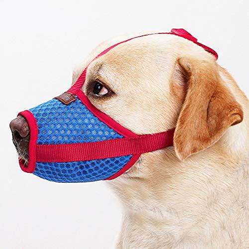 RC GearPro Bozal Ajustable para Perro, Boca para Mascotas, Malla de Aire para Anti mordidas, Anti ladridos, lamiendo Perros pequeños, medianos y Grandes (L)