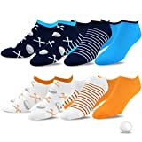 TeeHee Men's Golf Socks No Show Socks 6-Pairs Assorted (Golf Ball w/Tee)