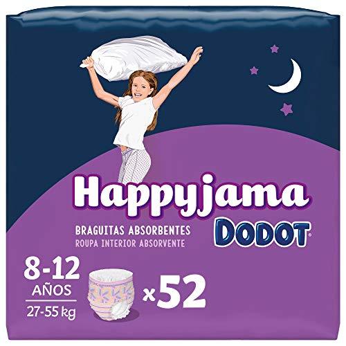 Dodot Pañales HappyJama para Niña 8 -12 Años (27-57 kg), 52 Unidades, Pañal con Protección Anti-Fugas Durante la Noche