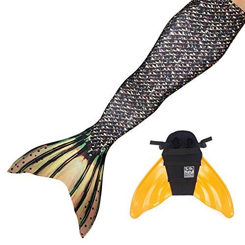 Sun Tails Juego de aletas sirena Disfraz Sea Monster Mono aletas infantil Teen adultos, naranja, large