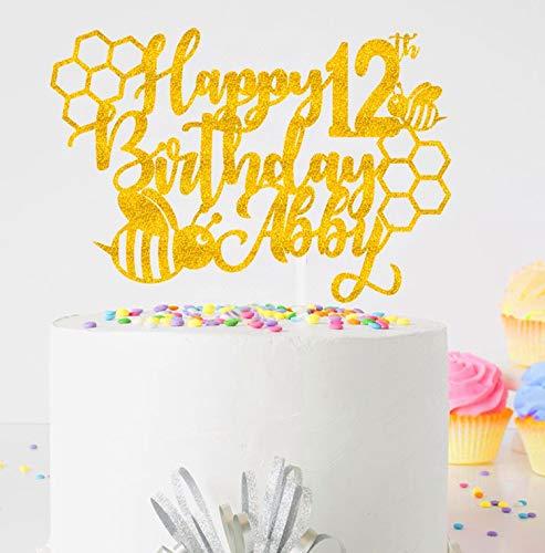 Honing bij elke naam taart topper | thema verjaardag taart topper | Elke naam taart topper | aanpassen taart topper