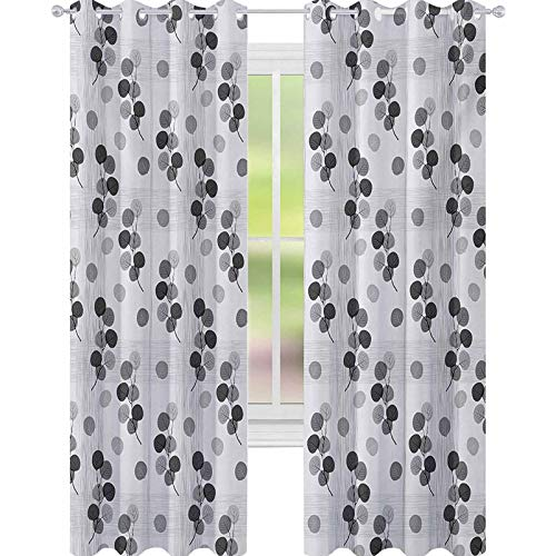 YUAZHOQI Floral Blackout Curtains for Bedroom Abstract Autumn Branches Circular Fall Leaf in Faded Tones Seasonal Artwork 52' x 84' Drape for Glass Door Pearl Charcoal Grey