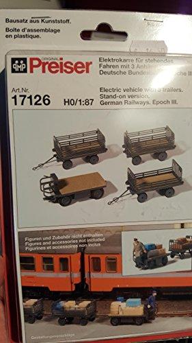 Preiser 17126 Elektrokarre für stehendes Fahren Incl 3 Anhängern 1:87 Epoche III