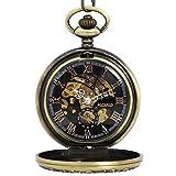NICERIO Retro Pocket Watch Bronze Skeleton Windup Steampunk Semi-Auto Mechanical Roman Numerals Pocket Watch with Fob Chain